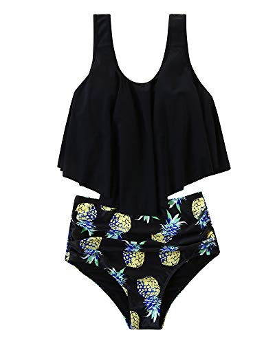 RXRXCOCO Women Two Piece Bathing Suit, High Waisted bottom, Pineapple Print-scoop Neck top, S(US size 4-6)