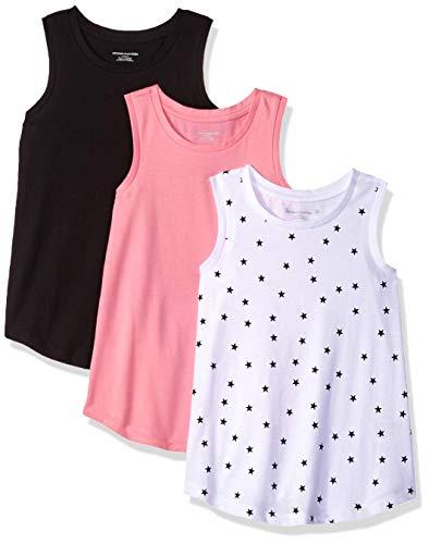Amazon Essentials Big Girls' 3-Pack Tank, Sachet Pink/Bright White Mixed Star/Black Beauty, L]()