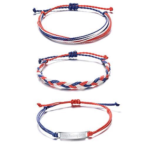 Tarsus Surf Layering Bracelets for Men Women Teen Girls Us America Nautical 3 Bracelet Set