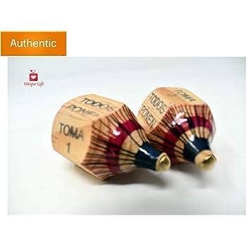 New | Alondras Imports (TM) Uniquely Designed, Classic Wood Spinning Top Game (Pirinola Toma Todo - Artesania De Madera) Unique Assorted Color at Tip ...