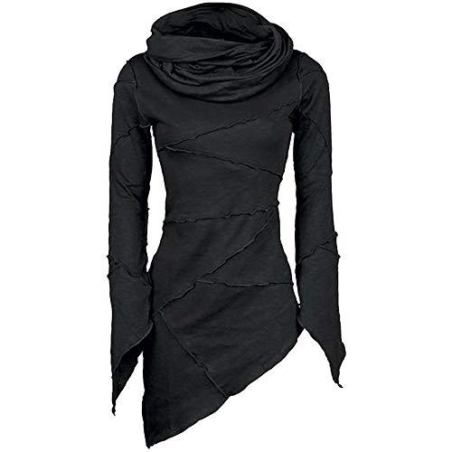 Fontaine Cherry - Willow S Women 2019 Fashion Seuy Slim Solid Turtleneck Cowl Neck Asymmetric Sleeves Skew Hem Tops Blouse Black