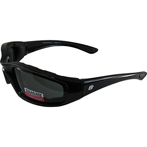 (Birdz Eyewear Oriole Padded Motorcycle Glasses (Black Frame/Polarized Smoke Lens) )