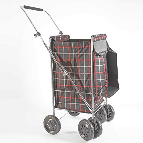 Easylife Checks Cover for 6 Wheel Trolley - 600 Denier Polyester Chequered Cover for Trolley with Handle, Easy-To-Fold, Steel Frame, Water-Resistant - 58 Litre Capacity - H 102 x W 48 x D 45cm