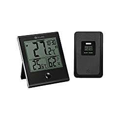 Digital Indoor Outdoor Home Thermometer, DIGOO High-precision Hygrometer Gauge Monitoring Humidity Temperature, Clock Alarm Function, Large LCD Display, Waterproof and Scratching-Proofing