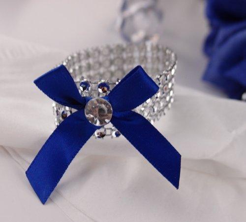 (Set of 10 Blue Ribbon Bow Bling Napkin Rings )