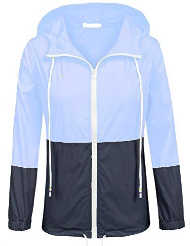SoTeer Women's Zip up Outdoor Raincoat Hooded Lightweight Waterproof Rain Jacket