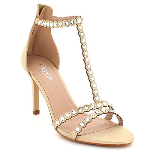 AARZ LONDON Women Ladies Crystal Diamante Evening Wedding Party Prom High Heel Zip Fastening Sandal Shoes Size Gold L80lX7p0P