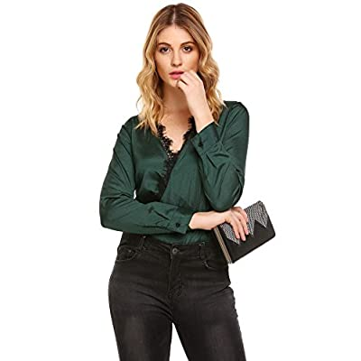 Zeagoo Women's Casual Long Sleeve Satin Wrap Lace Patchwork Blouse Shirt Tops for sale