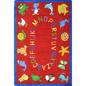 Educational ABC Animals Kids Rug Rug Size: Oval 5'4