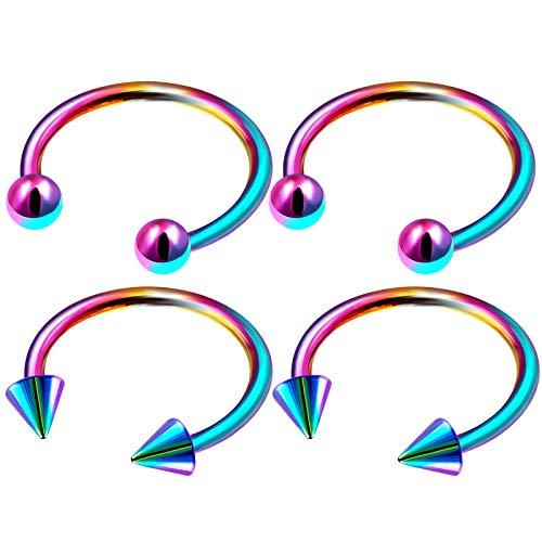 4Pcs Rainbow Anodized 1/2 12mm 16 Gauge Horseshoe Ring Piercing Jewelry Tragus Cartilage Lip Septum Daith 3mm Ball Cone M4950 ()