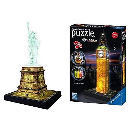 Ravensburger 12596 - 3D Puzzle Freiheitsstatue bei Nacht