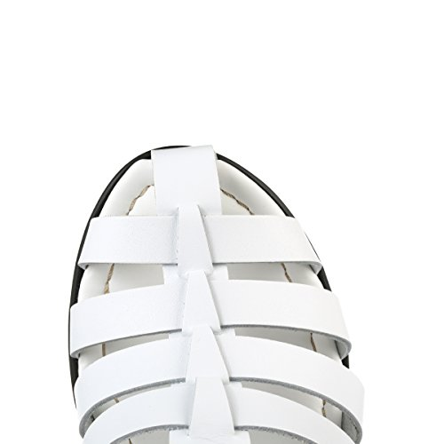 4ever young Womens Chunky White Leather Sandals FzhikGFS