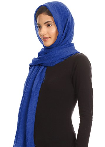 Abeelah Cotton Crinkle Hijab Scarf- Muslim, Indian, African Fashion Compatible (Royal Blue) by Abeelah (Image #2)