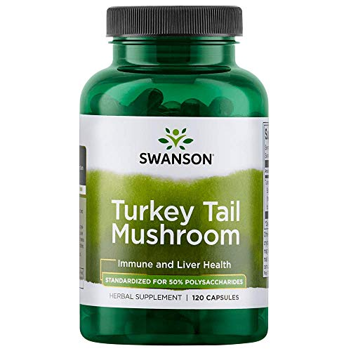 Swanson Turkey Tail Mushroom Supplements Immune Support Liver Support Cellular Health 500 mg 120 Capsules