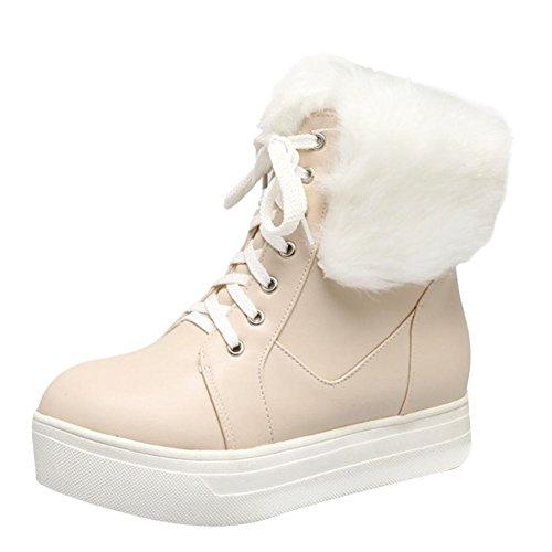 Up Winter Fur Carolbar Women's Boots Beige Cosplay Sweet Lace Lolita Faux Snow nwn1qE8Y