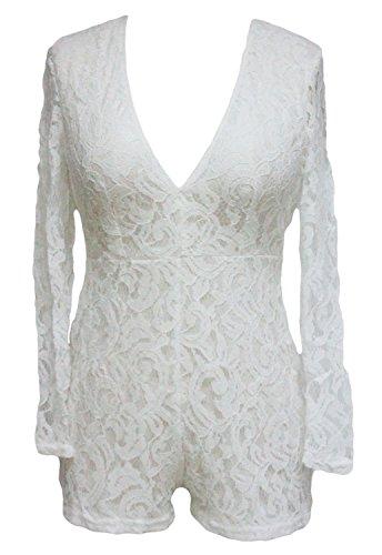 New Damen Weiß Sheer Lace V-Ausschnitt Strampler Spielanzug Catsuit Club Wear Festival Sommer Party tragen Größe M UK 10�?2EU 38�?0