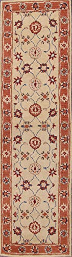 Rug Source New Agra All-Over Floral Hand-Tufted 9x2 Beige Wool Oriental Runner Rug (2' 6