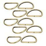 uxcell 50mm Inner Width Zinc Alloy Thickening Non Welded D Ring Bronze Tone 10pcs