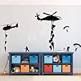 best army wall decals  Soldiers Parachuting from Helicopters for Kids Playroom, Children, Military Families Army Wall Decals