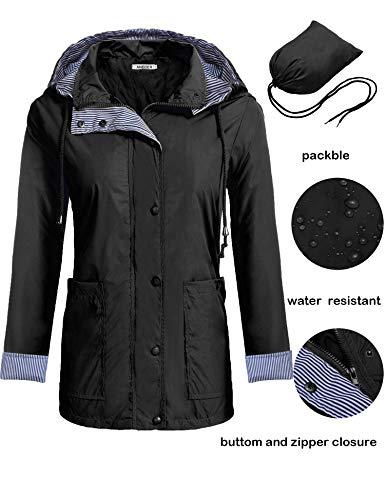 Anboer Women's Lightweight Hooded Outdoor Front-Botton Waterproof Packable Raincoat Jacket Black (Reversible Hooded Jacket)