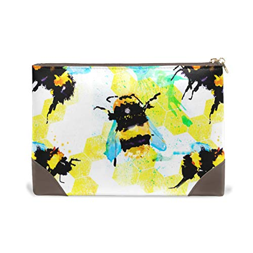 BENNIGIRY Womens Bee Art Painting Leather Makeup Bag Cosmetic Tote Bags Carry Case Organizer Toiletry Bag