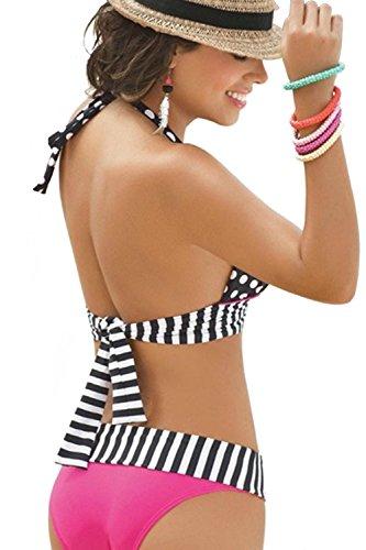 Imixshopcs Polka Dot Sexy Swimwear Bikini Set Bandeau Push Up Padded Swimsuit Beachwear (M)