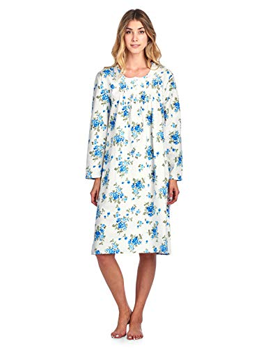 Blue Nightdress - Casual Nights Women's Flannel Floral Long Sleeve Nightgown - Floral Blue - Small
