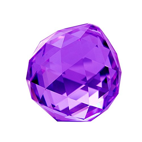 HONGVILLE Fancy Crystal Ball Prisms Pendant Feng Shui Sun Catcher for Holiday Decorating Hanging, 40mm, Purple