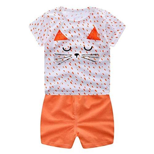 0-3T Toddler Kids Baby Boys Girls 2pcs Outfit Set Cute Cartoon Summer Tops T-Shirt +Shorts Leggings Clothes (Orange, 6-12 Months)