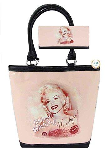 Marilyn Monroe Top Zip Shoulder Bag (Marilyn Monroe Large Purse Wallet Set, Simply Beautiful)