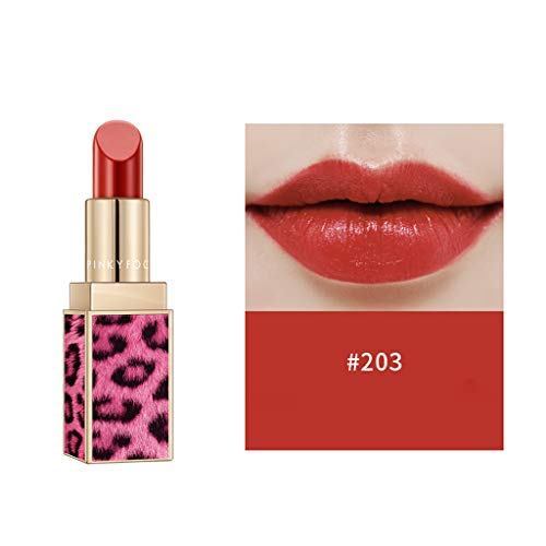 Waterproof Lipstick, Matte Pumpkin Color Lip Gloss Eat Earth Rich Vitamin E Moistu Pinky Focus Pi Leopard Lipstick Lip ()