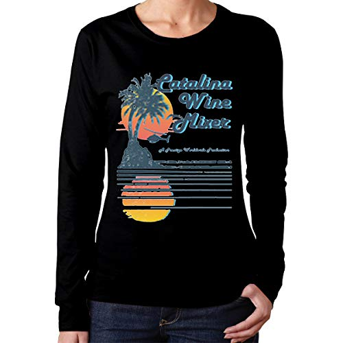 Catalina Wine Mixer Women's Classic-Fit Long-Sleeve Crewneck Cotton Graphic Top Tee T-Shirt