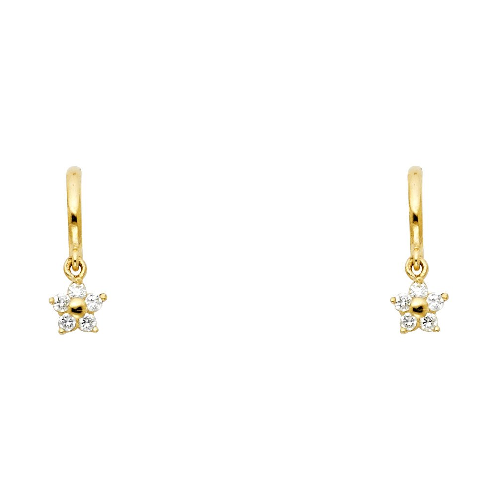 Wellingsale 14K Yellow Gold Polished Dangle Stud Earrings With Screw Back