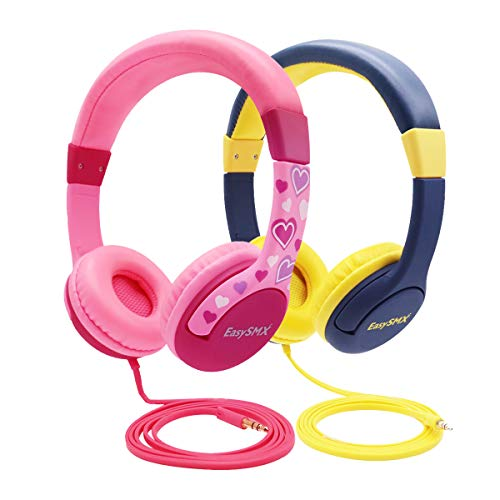 Kids Headphones for Girls, EasySMX 3.5mm Comfortable Over-Ear Headsets (2 Pack Kids Headphone)