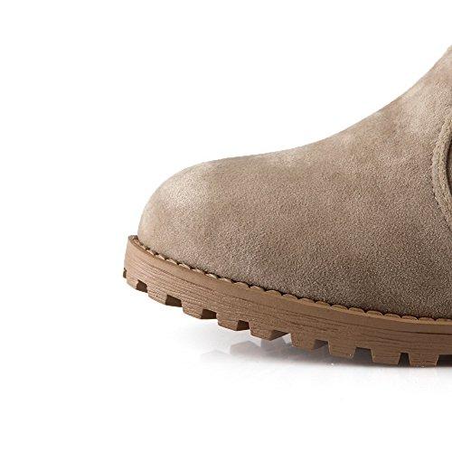 AmoonyFashion Womens Round-Toe Closed-Toe Low-Heels Boots with Platform Beige AIKWeocCU