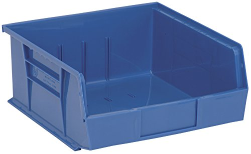 Aviditi BINP1111B Plastic Stack and Hang Bin Boxes, 10 7/8'' x 11'' x 5'', Blue (Pack of 6)
