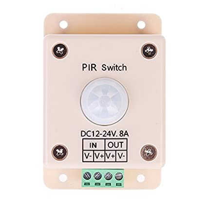 Rana de plástico blanco DC 12 V-24 V cuerpo infrarrojo PIR sensor de movimiento