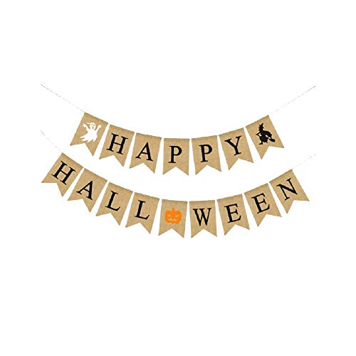 EBTOYS Happy Halloween Bunting Banner Garland Ghost Witch Pumpkin Printed Burlap Bunting Banners for Halloween Party Decoration - 2 String -