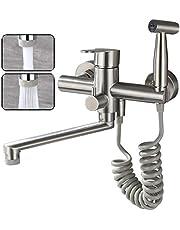 Kraan keukenmuurkraan voor keuken, met spuitpistool en 2 soorten waterstraal, kraanmuur draaibaar 360 ° uitloop, eenvoudige installatie keukenkraan wandmontage (twee standen uitloop)