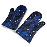 Feederm Galaxy Stars Magic Glow in The Dark Designs Personality Oven Mitt for Kitchen,A Pair of Gloves,Heat Resistant Gloves - Oven - BBQ Grilling