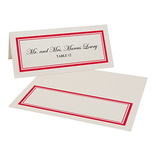 Ruby Champagne (Double Line Border Easy Print Place Cards, Champagne, Ruby Red, Set of 100 (25 Sheets))
