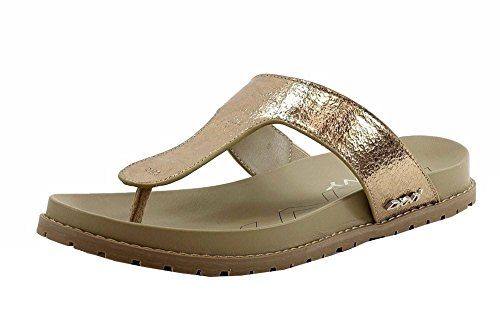 Donna Karan Dkny Da Donna Shawna Moda Crackled Oro Pallido Sandali Infradito Scarpe