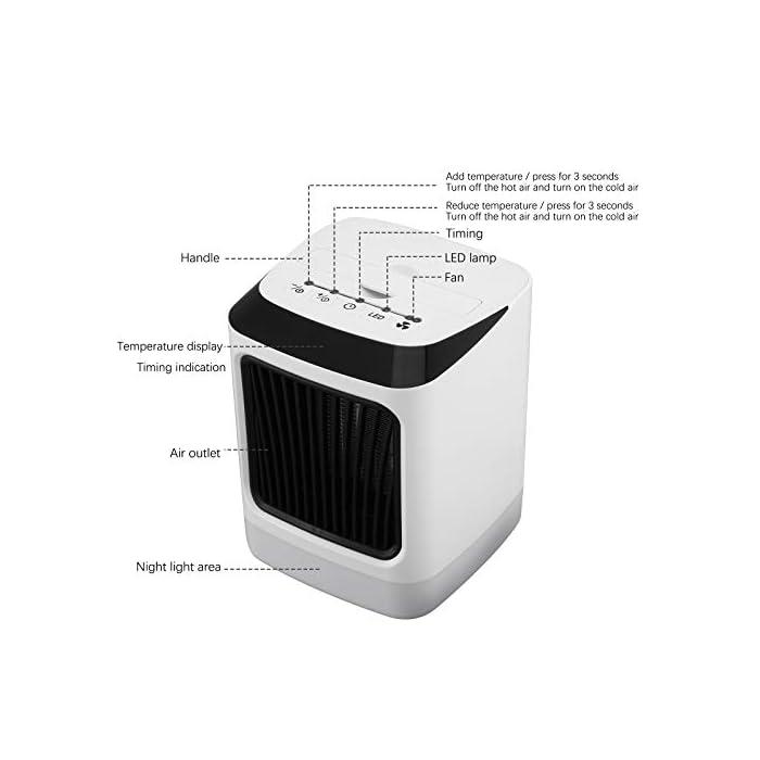 """410qy2zK oL Modo de refrigeración y calefacción: el calefactor tiene dos modos de calefacción y un modo de refrigeración para todas las estaciones. El calentamiento rápido 2s te ofrece inviernos cálidos con convección de aire eficiente y durabilidad. Prensa larga """"-"""" se convierte en un viento frío natural. La estufa se apaga automáticamente en caso de sobrecalentamiento y apagado accidental. El calentador de espacio está fabricado con material ignífugo de la más alta calidad para un problema de seguridad. Luz LED de 7 colores y asas portátiles: siete luces LED pueden ser iluminadas por la noche, pequeñas y ligeras, con asas portátiles, puedes colocar este calefactor eléctrico en tu oficina o casa para el escritorio o para uso doméstico."""