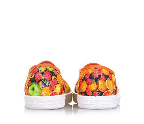 Pèpè Orange Slipper Aus Stoff, Made in Italy, Seitlich Elastische Einsätze, mit Dekorativen Drücken, Mädchen-28