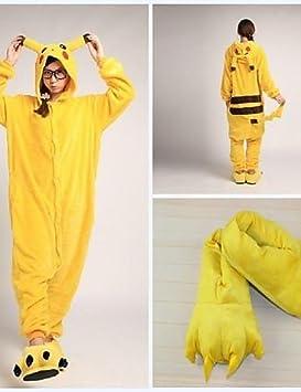 Patadas lindo amarilla Pikachu adultos traje de pijama paño grueso y suave coralino Kigurumi (con zapatillas) female-m: Amazon.es: Deportes y aire libre