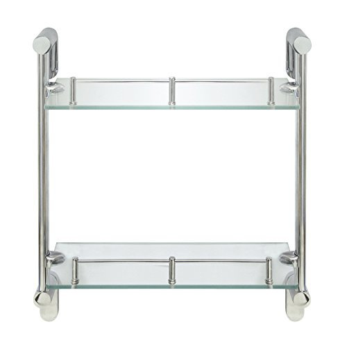 MODONA Double Wall Glass Shelf with Pre-installed Rail - POLISHED CHROME - Oval Series - 5 Year Warrantee