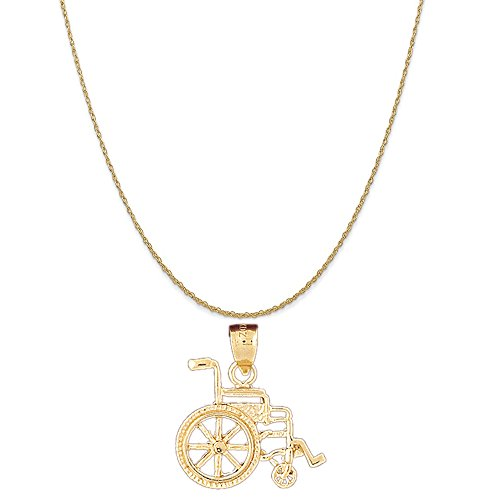14k Yellow Gold Wheelchair Pendant on a 14K Yellow Gold Rope Chain Necklace, 18
