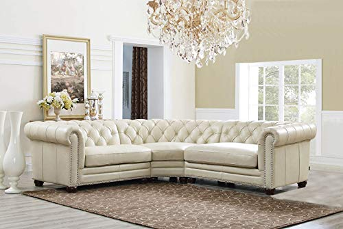 Hydeline Aliso 100% Leather Sectional Sofa, 3-Piece, Ivory