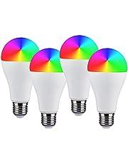 4 stuks wifi-gloeilampen, E27, dimbaar, intelligente ledlamp E27, A65, 14 W, 1400 lm, RGB, 2700 K-6400 K, compatibel met Alexa en Google Home