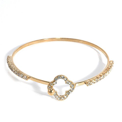gold four leave clover Unique Crystal Rhinestone Bangles Women Cuff Bracelets Charm Hand Jewelry